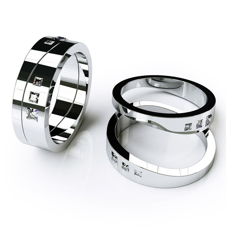 (RL-W-10) Platinum, Two-Part Wedding Band