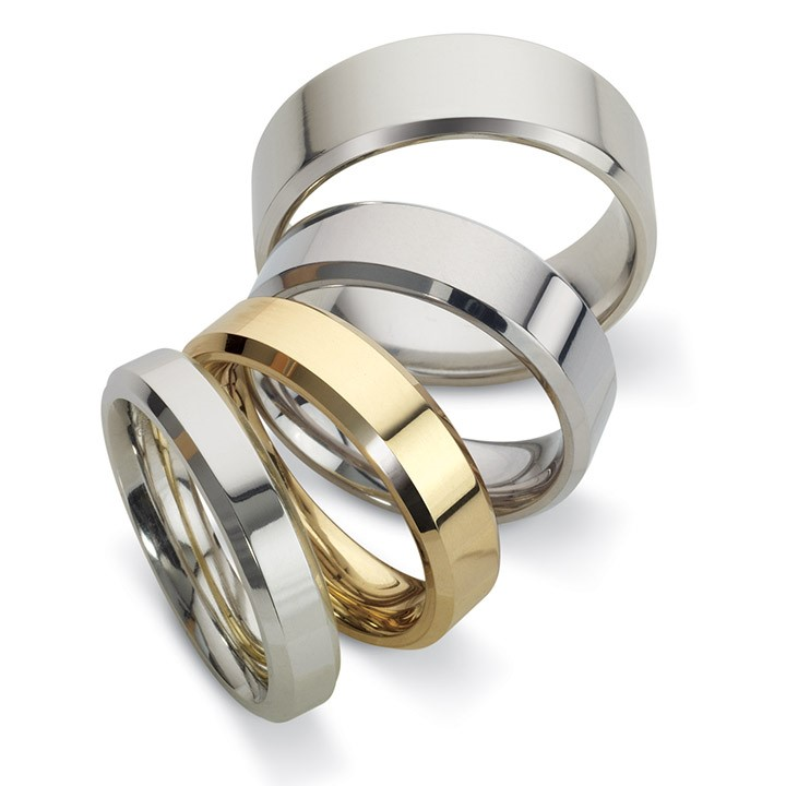 (RL-W-25) Classic Bevelled Edge Wedding Bands