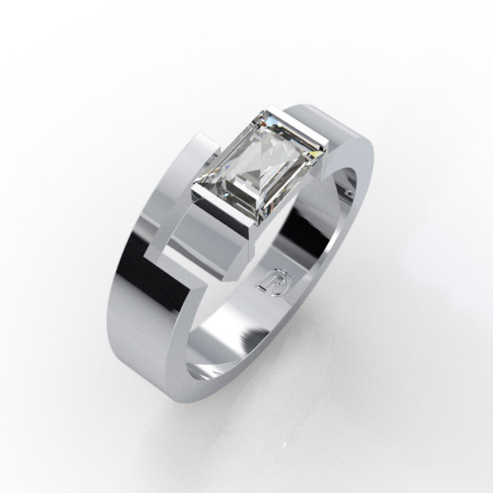 Emerald Cut Diamond Torc Ring (RL-G-04)