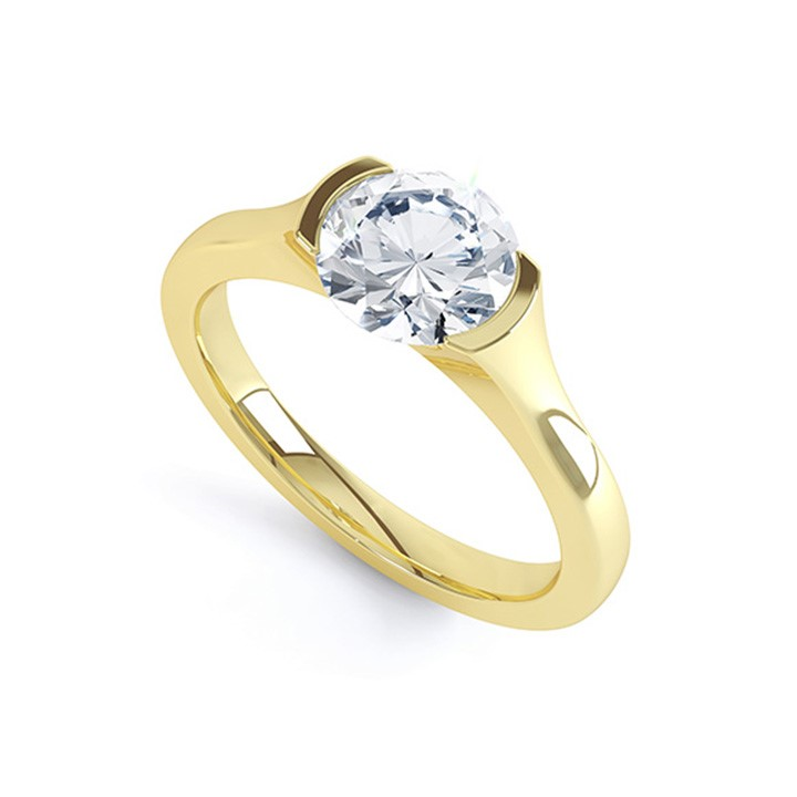 (RL-G-12) Single Stone Demi-Flush Diamond Ring