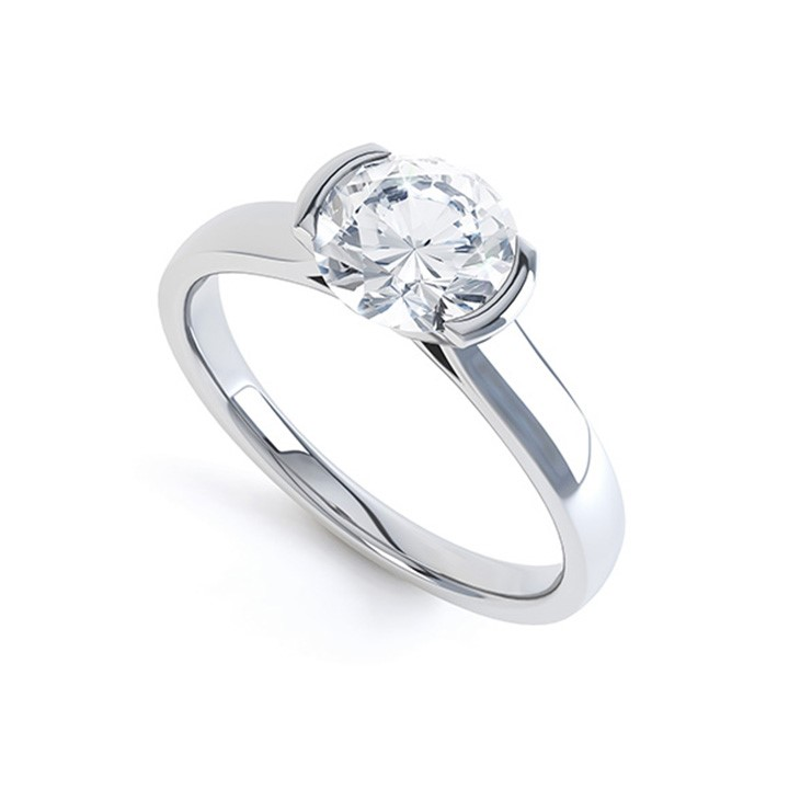 (RL-G-21) Demi-Flush Single Stone Diamond Ring