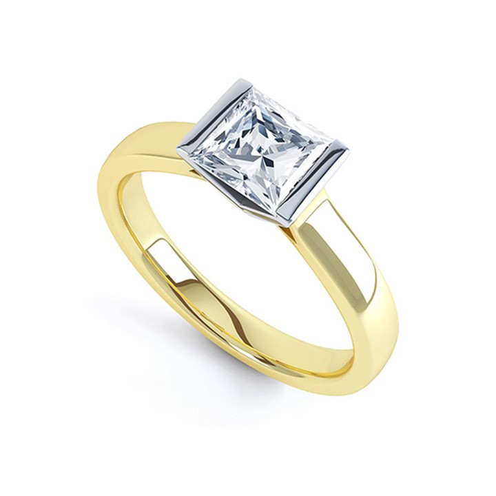 (RL-G-22) Demi-Flush Square Solitaire Ring