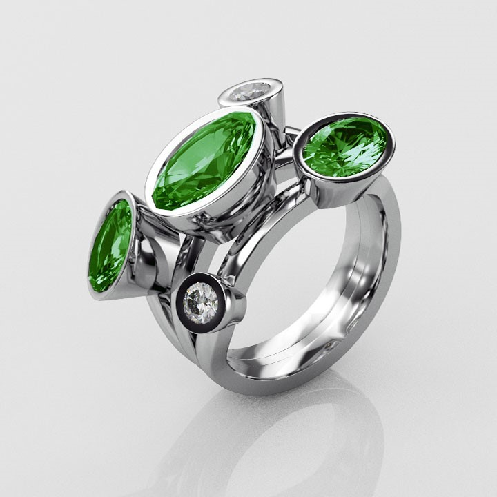 (RL-G-85) Emerald and Diamond Pebble Ring