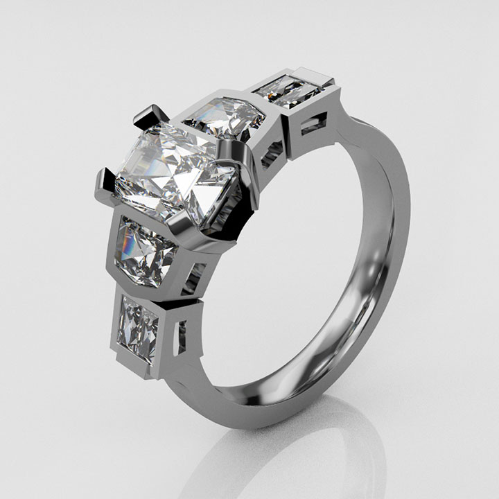 Platinum and Seven Stone Diamond Ring (RL-G-87)