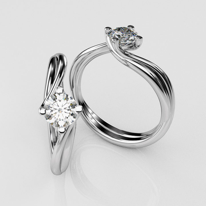 Platinum and Single Stone Diamond Ring (RL-G-88)