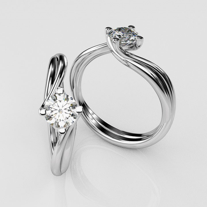 (RL-G-88) Platinum and Single Stone Diamond Ring