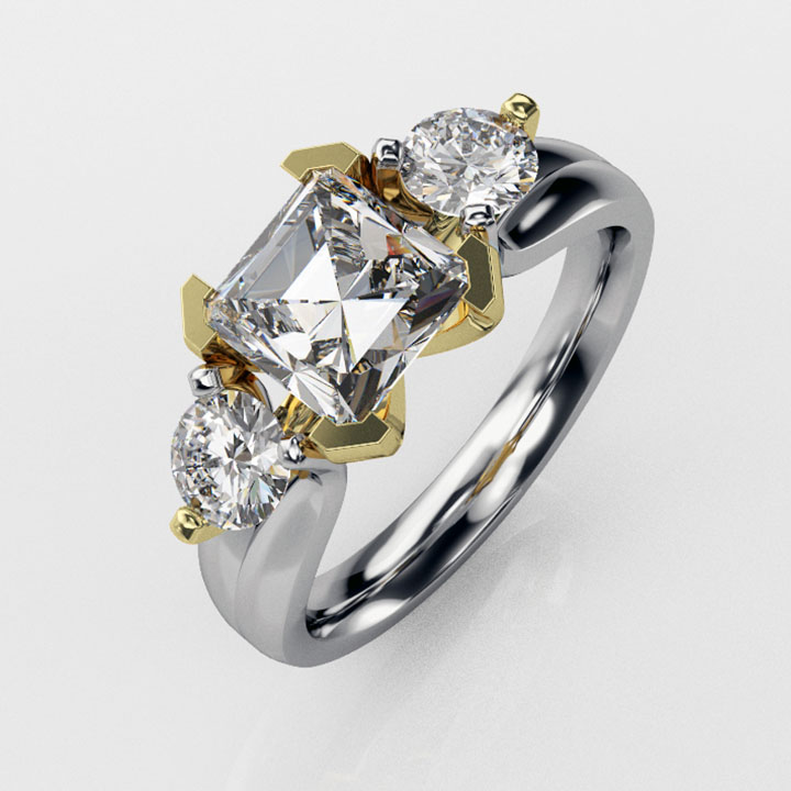 18ct Yellow and White Gold, Three Stone Ring (RL-G-89)