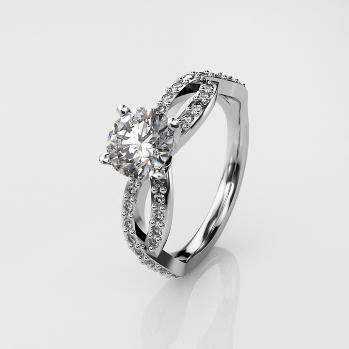 Vintage, Single Stone and Pavé Set Diamond Ring (RL-G-92)