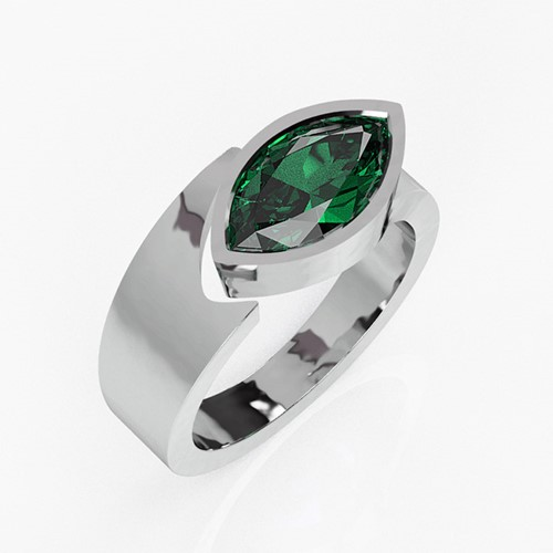 Platinum and Emerald Torc Ring (RL-G-98)