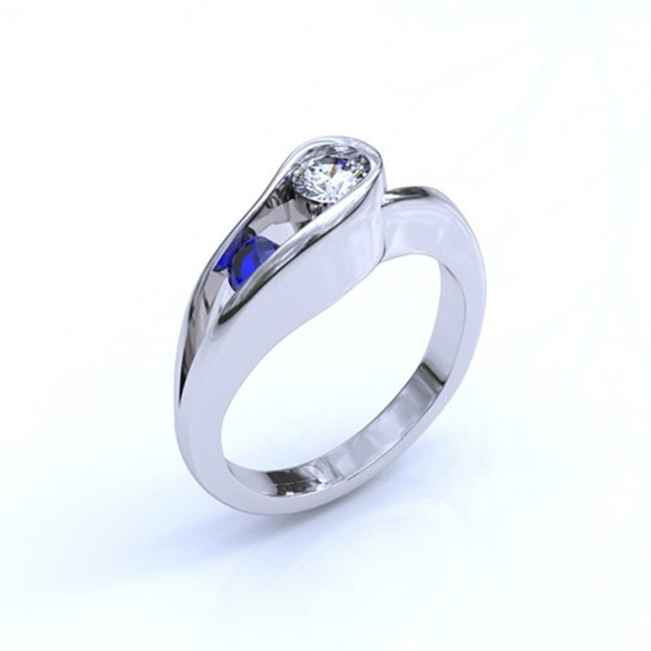 (RL-G-99) Platinum, Sapphire and Diamond Contemporary Ring