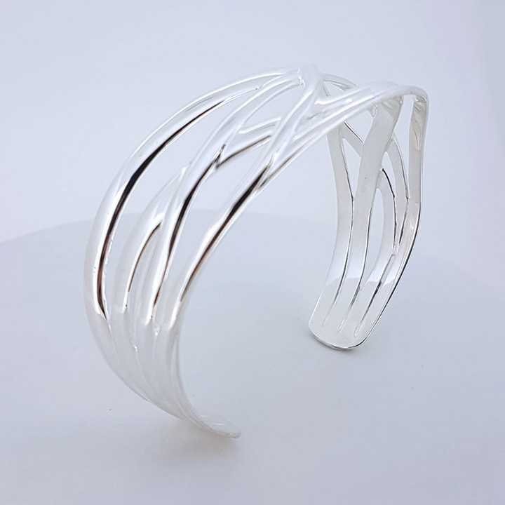 Sterling Silver Torc Bangle (BA-TL126)