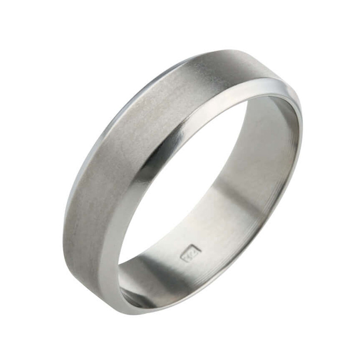 Flat and Bevelled 6mm Titanium Ring (PD-TLR849)