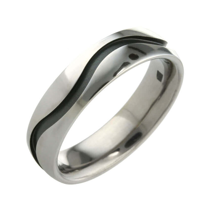 Wave Groove 6mm Titanium Ring (PD-TLR1239)