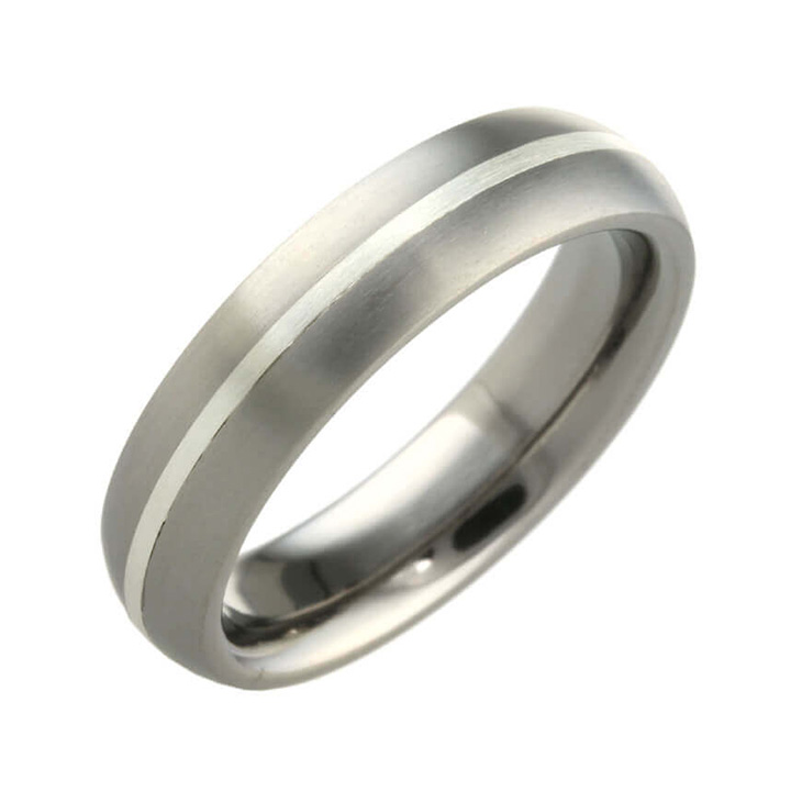 6mm Wide Narrow Inlay Oval Titanium Ring (PD-TSLR802)