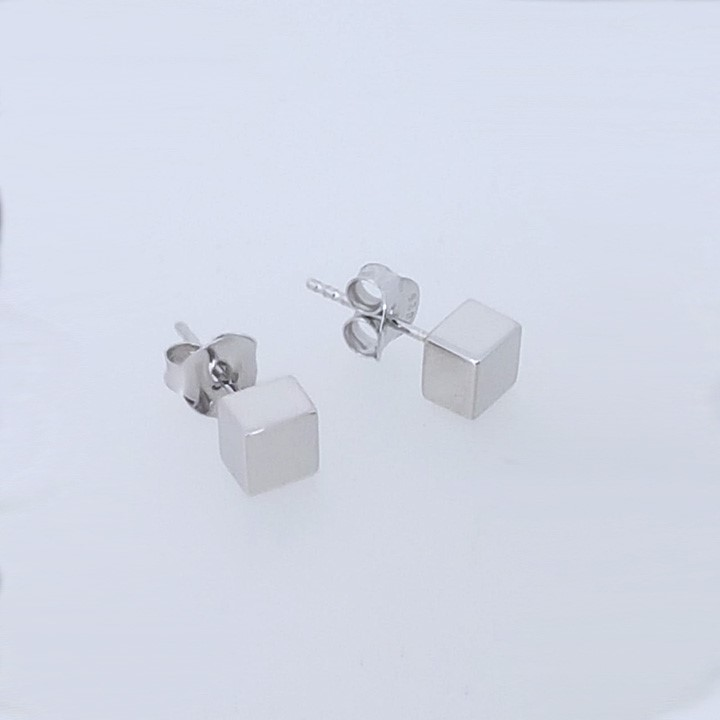 (BA-6680) Sterling Silver Square Stud Earring