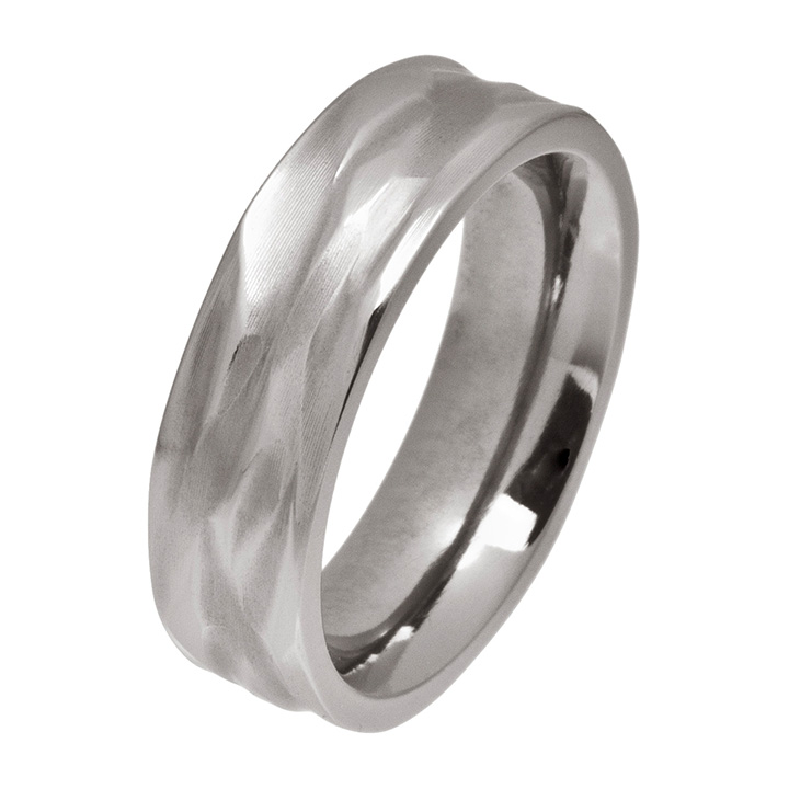 Carved Wave 6mm Titanium Ring (PD-TL1205)