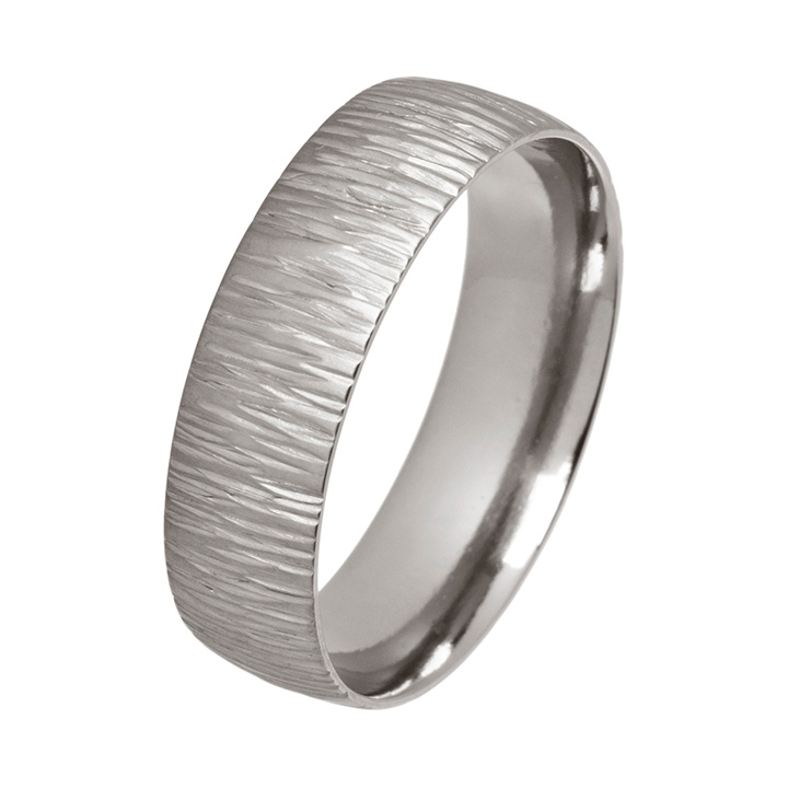 Fine Ripple Textured 6mm Titanium Ring (PD-TLR1232)