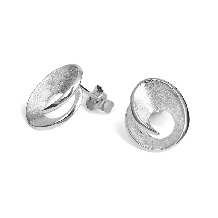 Scratched Sterling Silver Studs (BA-TE5257)