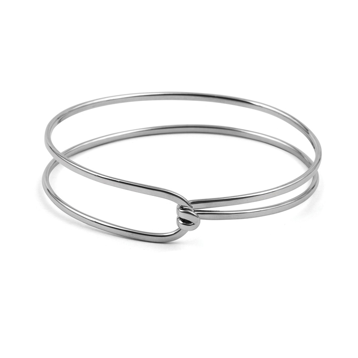 Sterling Silver Tension Clasp Bangle (BA-B792)