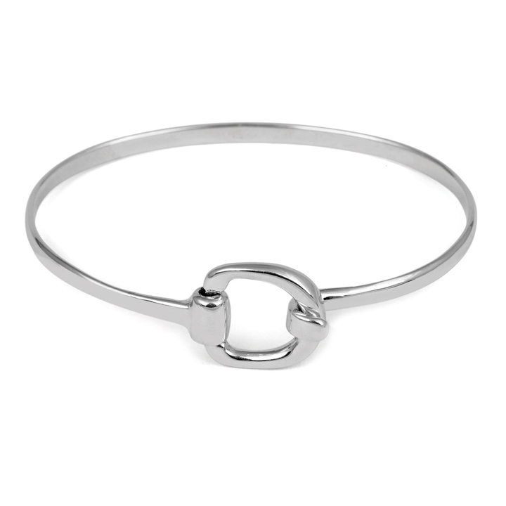 Sterling Silver Buckle Bangle (BA-B850)